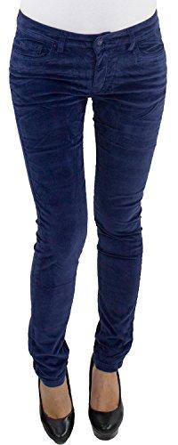 Damen Röhren Cordhose bis Übergröße Big Size Hose Skinny Stretch Kord 3 Farben Blau XL/42