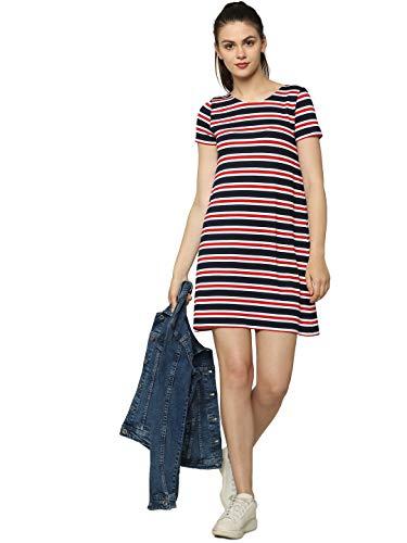 ONLY NOS Damen Onlbera Back Lace Up S/S Dress JRS Noos Kleid, Mehrfarbig (Cloud Dancer Red and Blue Stripes), 36 (Herstellergröße: S)
