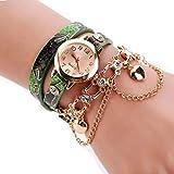 Uhren Damen Quarzuhr Frauen Armbanduhr Luxus Armband Exquisit Uhr Seil Ketten wickelnde Uhr Analoge Bewegungs Armbanduhr Strick Uhrenarmband Watch,ABsoar (B Grün)