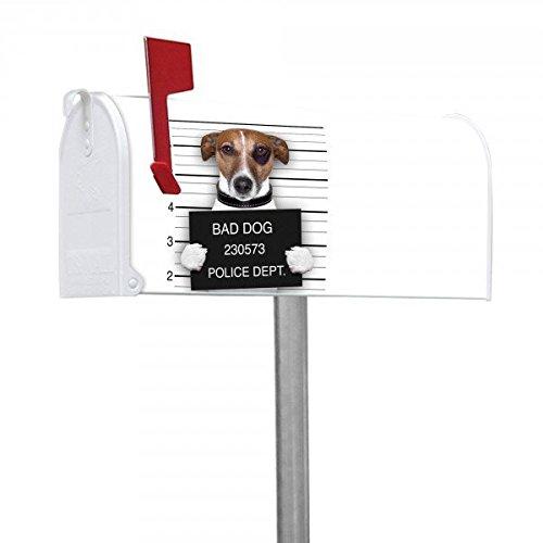banjado-Amerikanischer-Briefkasten-US-Mailbox-17x22x51cm-mit-Motiv-und-Stnder-Bad-Dog-Jack-Russel