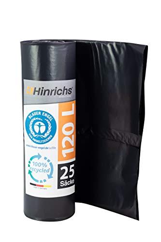 ProfessionalTree Sacs Poubelle 120 L Rouleau de 25 Sacs - extrêmement résistant - 70 µ - 700x1100 mm (Noir)
