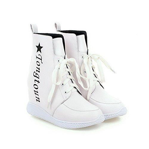 AllhqFashion Damen Zweifarbig Gemischte Farbe Hoher Absatz Schnüren Rund Zehe Stiefel Weiß