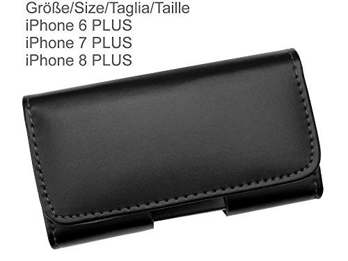 AQ Mobile Gürteltasche für Apple iPhone 6 PLUS/iPhone 7 PLUS/iPhone 8 PLUS (ACHTUNG: diese Tasche ist für das GROSSE iPhone) aus Leder mit Gürtelclip