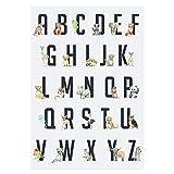Frechdax® Lot de 3affiches pour chambre d'enfant, format A4, animaux de la forêt, safari, Afrique, animaux, ballon, plusieurs coloris disponibles, Abc Lernposter A3 Tiere Alphabet, DIN A4