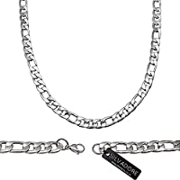 Silvadore - Men's Jewellery Necklace Chain - FIGARO Silver Stainless Steel - 20 Inch / 51 cm - 60 Days Money Back Guarantee - Velvet Pouch 05