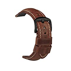 Idea Regalo - Cinturino per orologio da uomo in pelle Retro Strap Panerai Watch 20mm 22mm 24mm adatto per accessori per orologi high-end tradizionali o cinturino sportivo Smart Fashion 24mm marrone