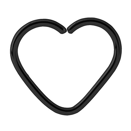 Schwarz Stahl-Ring mit Herzmotiv Creole, Ohrring, für Tragus-, Helix-, Daith-, Rim- und Oberohr-Piercings. 1,0mm Dicke,10mm Innendurchmesser. Schmuck-Größentabelle von TDi Jewellery im Lieferumfang enthalten (evtl. nicht in deutscher Sprache).