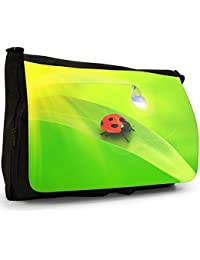 Insects Black Large Messenger School Bag