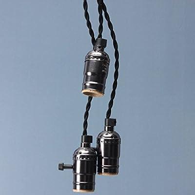 KINGSO E27 Lampenfassung Vintage Edison Pendelleuchte Hängelampe Kronleuchte Seilleuchte mit drei Fassungen und Schalter(ohne Birne)