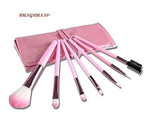 WANGSCANIS 7pcs Outil Maquillage Pinceaux de Teint Poudre Fard à paupières Eye-liner lèvres pinceau cosmétique Kit avec étui