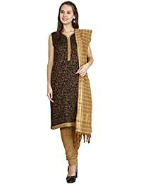 6a4db33ba8 Manmandir Women's Handloom Cotton Silk Dress Material (Black and Beige,  Free Size)