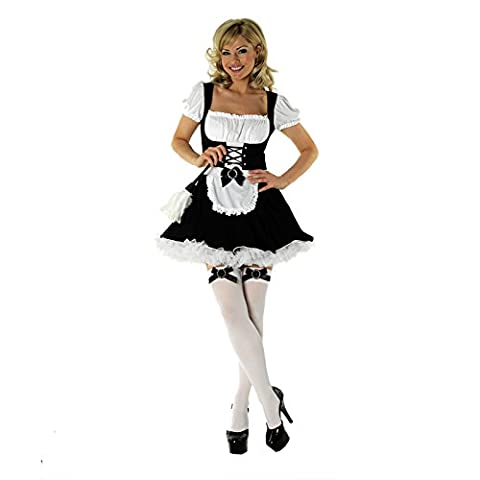 Womens Sexy Valentines Halloween Fancy Dress Costumes Many Designs Cute Sizes XS-XL Nurse Maid Pop Soldier Secretary Gangster Moulin Rouge Poker Girl Corset Queen of Hearts (Medium (12-14), Corset Maid