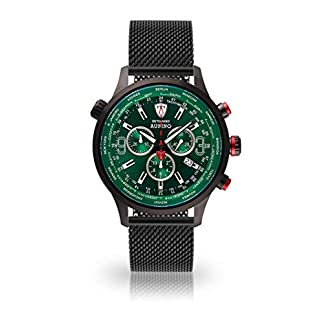 DETOMASO AURINO Reloj Caballero Cronógrafo Analógico Cuarzo Negro Correa Milanesa Esfera Verde DT1061-K-851