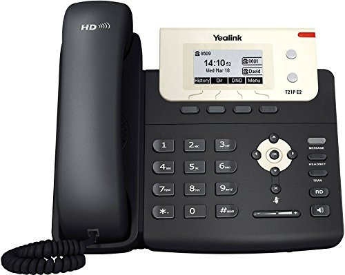 Yealink SIP-T21P E2 Telefono VoIP, Entry-level IP con 2 linee e voce HD, Nero