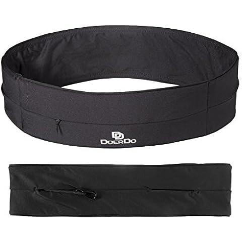 Cinturón de running con cremallera zona, doerdo cintura Pack, Universal al aire libre Entrenamiento cinturón–apto para todos los teléfonos móviles, color negro, tamaño Large(32