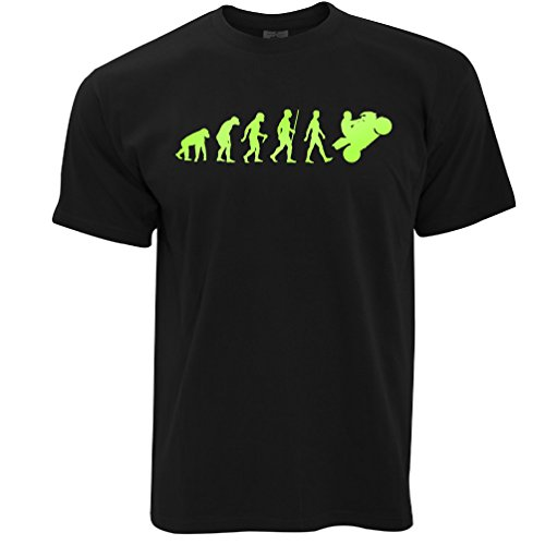 Tim And Ted Evolution of Motorrad Neongrün Reiter Fahrrad Biker Lustig Cool Herren T-Shirt