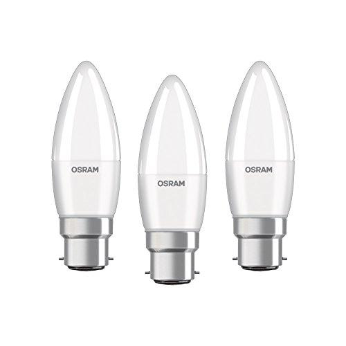 Osram LED Base Classic B Lampe, in Kerzenform mit B22d-Sockel, nicht dimmbar, Ersetzt 40 Watt, Matt, Warmweiß - 2700 Kelvin, 3er-Pack