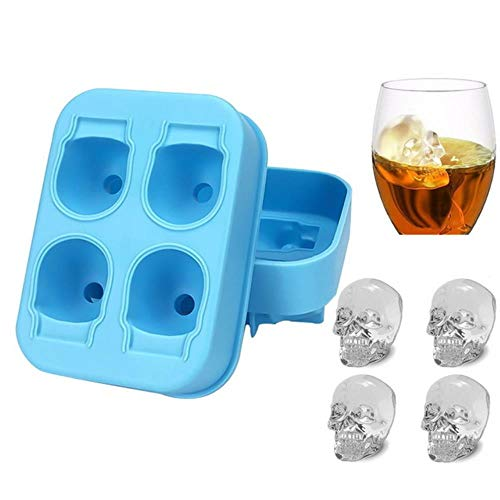 Generic Hifuar Ice Cube Tray Pudding Mold 3D Skull Silicone Mold 4-Cavity DIY Ice Maker Household Use Cool Whiskey Wine Kitchen Tools,4 grids Blue