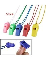 Sonline 5 x sifflets d'arbitre plastiques & dragonne Multicolore