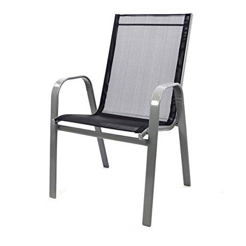 Nexos Gartenstuhl Stapelstuhl Stapelsessel Hochlehner Terrassenstuhl – Textilene Gewebe Stahlgestell – pflegeleicht robust stapelbar – Farbe: Rahmen grau/Bespannung schwarz