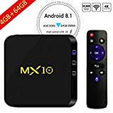 Android TV Box - MX10 Android 8.1 TV Box de 4GB + 64GB con Rockchip RK3328 Quad-Core 64 bits Support 2.4G WiFi 100M LAN 3D 4K HDR Smart TV Box [Lo último en 2018]