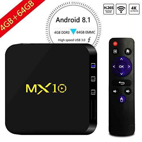 SART TV Box, MX10 4G 64G Android 8.1 Smart 4K TV Box RK3328 Quad Core with 4K (60Hz) Full HD/H.265 / WiFi Set Top Box with 3D TV 4K Ultra HD Video Player