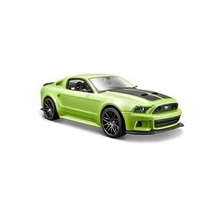 Maisto Ford Mustang Street Racer 2014: Originalgetreues Modellauto 1:24, mit Türen und Motorhaube zum Öffnen, Fertigmodell, 20 cm, grün (531506)