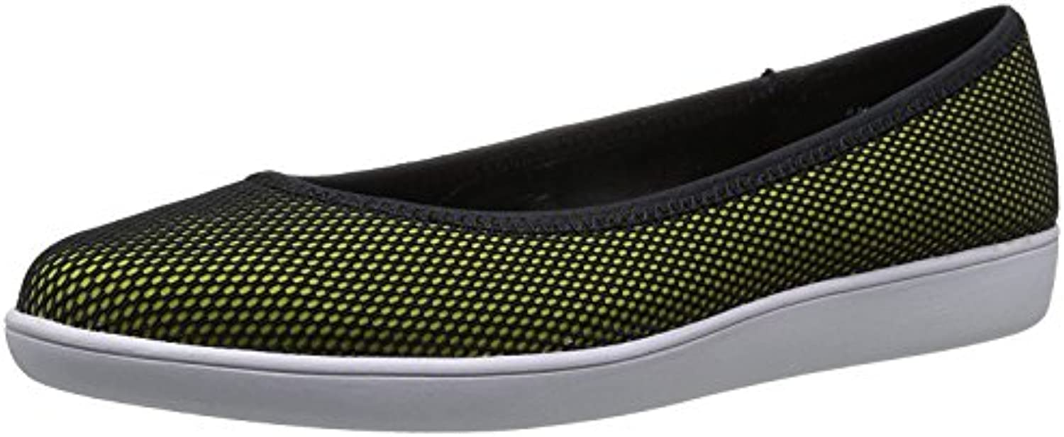 Nine West Women'S Luvintrist Fabric Ballet Flat, Black-Yellow/Black, 43 B(M) EU/9.5 B(M) UK