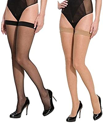 Qraftink Women's 2 Pair Thigh-Highs Long Exotic Stockings Tights black and beige (2 pair)