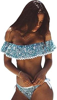 De las mujeres con volantes sin tirantes Bañador Crop Top Floral volantes Bikini Set