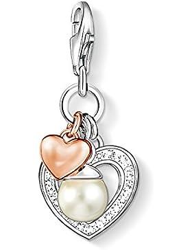 Thomas Sabo Damen-Charm-Anhänger Herzen Charm Club 925 Sterling Silber 750 roségold vergoldet weiß Süßwasserzucht-Perle...