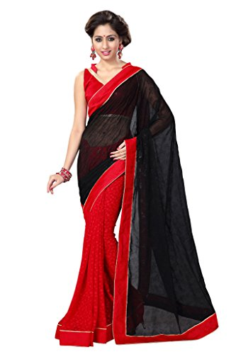 Sourbh Artificial Silk/Faux Georgette/Jacquard Saree (8663_Black)  available at amazon for Rs.1095