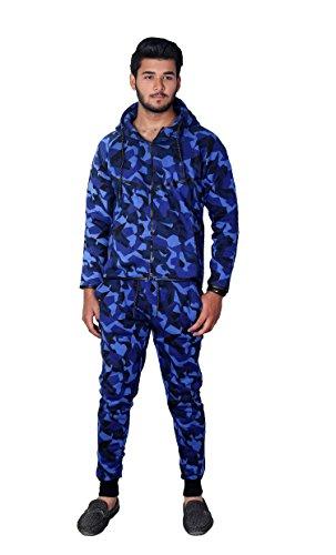MyMixTrendz Männer Armee Camo Design Trainingsanzug Hoodie Reißverschluss Jogger 2 Stück Multi Camo Anzug (X-Large, Camo Blau)