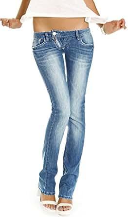 Bestyledberlin Damen Jeans Hosen, Low Rise Hüftjeans, Slim Fit Damen Bootcut, Jeanshosen j99a 34/XS
