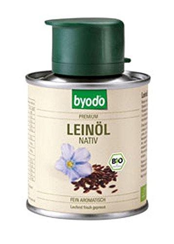 Preisvergleich Produktbild 4er-VE Bio Öl Leinöl,  nativ,  Dose 100ml Byodo