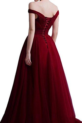 La_mia Braut Einfach Schulterfrei Kurzarm Abendkleider Brautjungfernkleider Promkleider Prinzess A-linie Neu Hell Grau