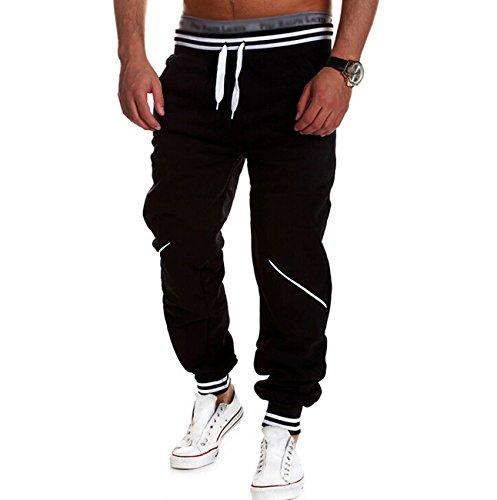 Pantaloni sportivi pantaloni della tuta decorazione della chiusura lampo allacciatura da uomo pantaloni della tuta Pantaloni Sport Fitness, nero M
