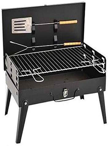 CERTAIN Stainless Steel Portable Briefcase Style Folding Barbecue Grill Toaster (Medium, Black)