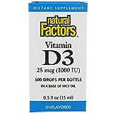 Natural Factors Vitamin D3 Drops (500 Drops Per Bottle, 1,000 IU, 15ml)