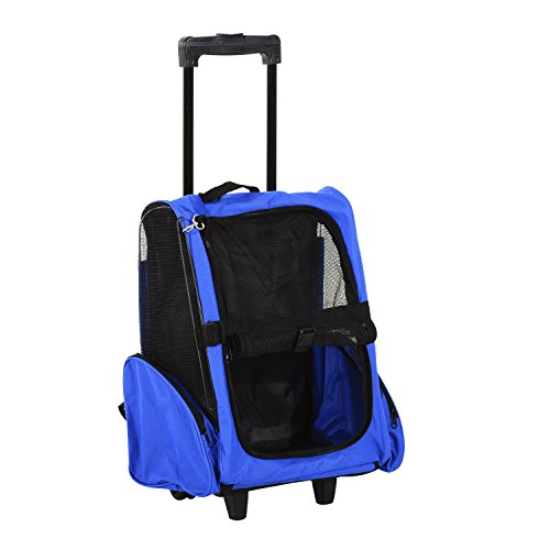 PawHut Pet Travel Backpack Bag Cat Puppy Dog Carrier w/Trolley and Telescopic Handle Portable Stroller Wheel Luggage Bag (Blue)