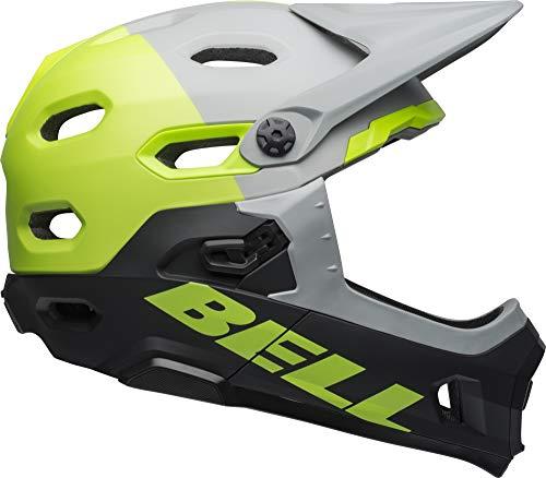 BELL Casco Super Dh MIPS MTB, Unisex Adulto, Color Unhinged Matte/Gloss Grey/Green/Black, tamaño Medium/55-59 cm