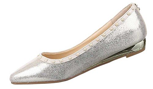 Damen-Schuhe Ballerinas   elegante Slipper mit Keilabsatz in verschiedenen Farben und Größen   Schuhcity24   dezentes Nieten-Motiv Beige