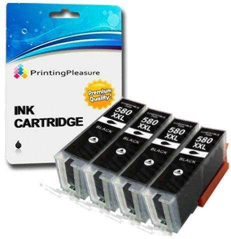 4 XXL Pigment SCHWARZ Premium PGI-580XXL PGBK Druckerpatronen für Canon Pixma TR7550, TR8550, TS6150, TS6151, TS8150, TS8151, TS8152, TS9150, TS9155 | PGI-580PGBK XXL -