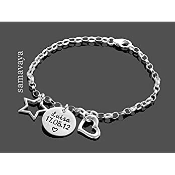 Kinderarmband mit Gravur HERZ & STERN 925 Sterling Silber Armband, personalisiert