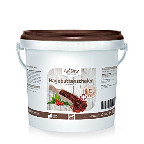 AniForte Hagebuttenschalen Geschnitten 1,5 kg – Naturprodukt für Pferde Hagebutten Vitamin C
