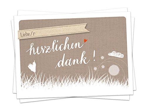 50 Danksagungskarten SET: danke im Stil der Wolke 7 Karten, Dankeskarte in Beige für deine Hochzeit, Geburtstag, Jubiläum auf Recyclingpapier
