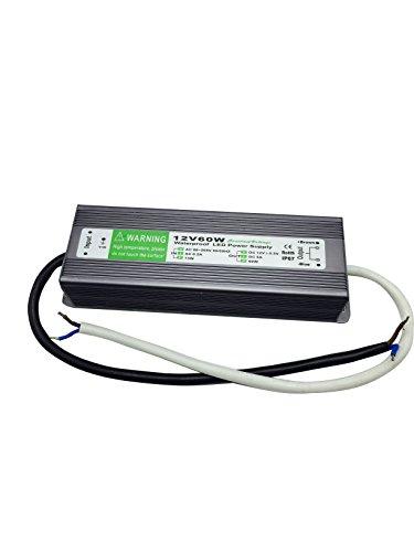 60w 12v Wechselstrom-transformator (YXH 60 Watt DC 12 V Wechselstrom 90-265V Eingang LED Transformator-Spg Versorgungsteil wasserdichtes IP67 LED-Treiber in der Aluminiumlegierung-Gehäuse geeignet für geführte Streifenbeleuchtung, LED-Modul und Outdoor-DC-Beleuchtungen.)