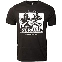 FC St. Pauli Herren T-Shirt Fanartikel The Sound of Sankt Pauli Musik Totenkopf Kopfhörer Schwarz Weiß (L)