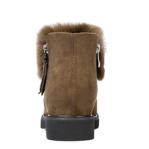 HSXZ Scarpe donna pelle Nubuck Autunno Inverno moda Bootie Stivali Stivali tacco basso Round Toe stivaletti/Stivaletti per Officebito di carriera Black