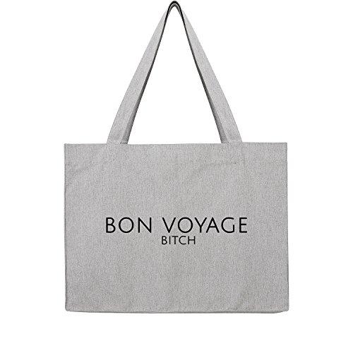 Bon Shopper (Bon voyage Bag Frauen Shopper grau Jute Beutel Handtasche Strand Sommer faltbar groß bedruckt mit Motiv (393-U762-Grau))